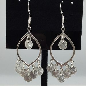 """Jewelry - Sterling Silver """"Brushed"""" Circle Boho Danglers"""